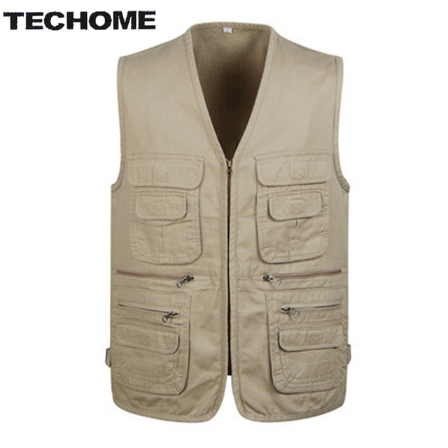 2016 Summer Men's Hot sale Plus Size 4XL Jacket cotton Vest Casual Multi-pocket Mens Sleeveless Waistcoat Men Free Shipping
