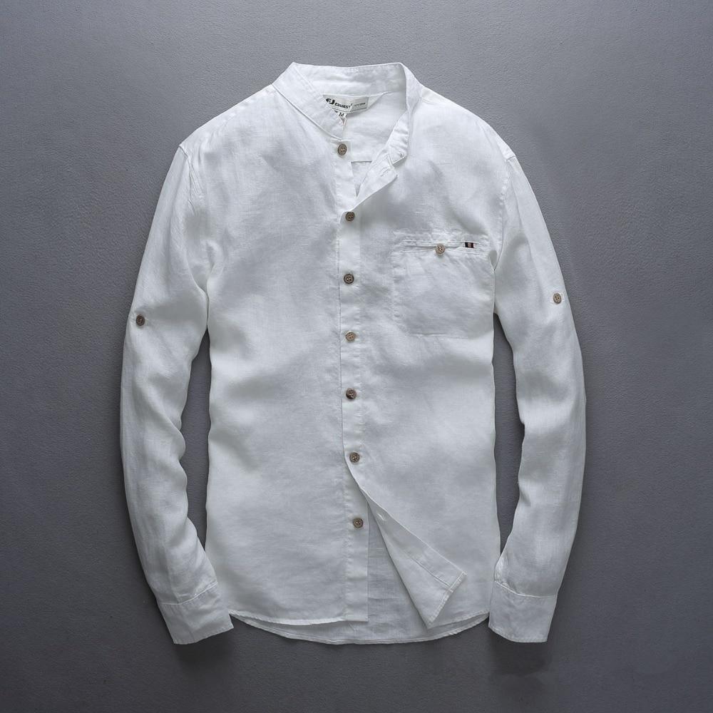 Italien stil 100% linned skjorte mænd langærmet afslappet mænd - Herretøj - Foto 6