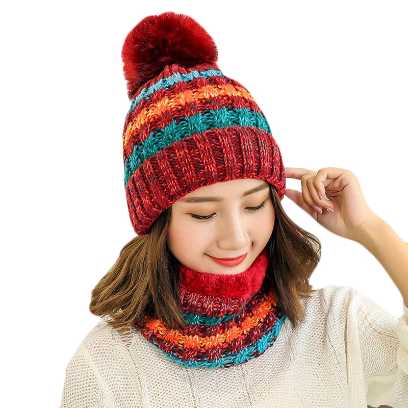 New Fashion Winter Hat Scarf Sets For Women Girls Warm Beanies Ring Scarf Pompom Winter Hats Knitted Caps And Scarf 2 Pieces/Set
