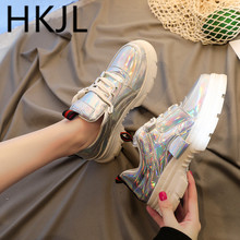 HKJL Spring womens shoes small white women spring 2019 thick-soled leather sneakers go well with Korean A609