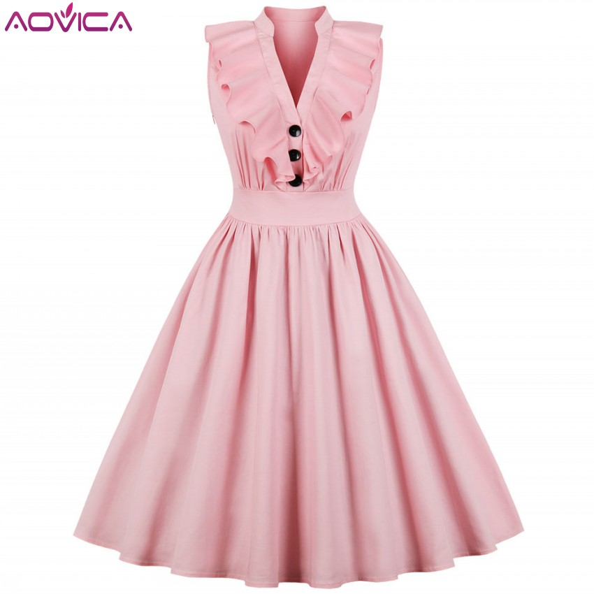 Aovica S-4XL Elegant Ruffle Pleated Summer Dress Women Sexy V Neck Vintage Robe Pink Dresses Pinup Party Tunic Cotton Vestidos