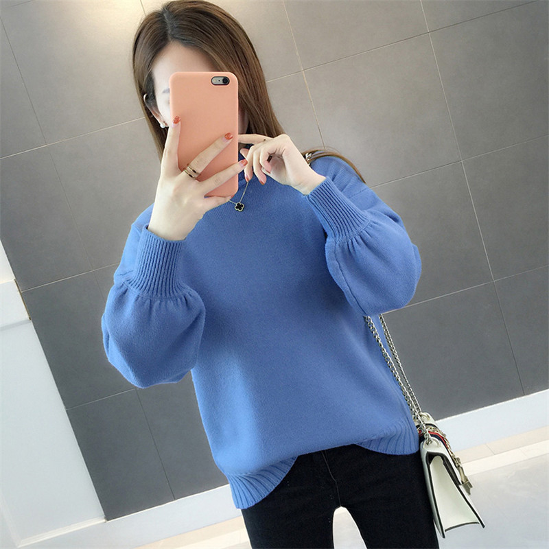Spring New Knit Sweater Women Pullover Tops Autumn Winter Fashion Turtleneck Sweater Female Loose Lantern Sleeve Sweaters X751