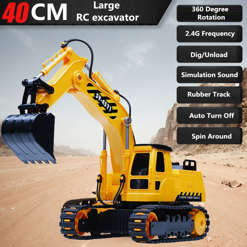 Children's Electric Educational Remote Control Excavator Model 2.4G Remote Control RC Construction Vehicle Engineering Truck Toy