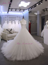 Julia Kui Elegant Strapless Lace Netting Chapel Train Crystal New Arrival Tiered Pleat A Line Puffy Princess Wedding Dress(China)