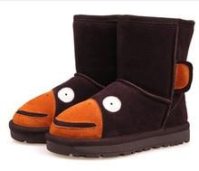 2016 Winter Children Shoes Boys Girls Kids Snow Boots Cute Monkey Genuine Leather Sheep Fur Wool Sheepskin Warm Shoes