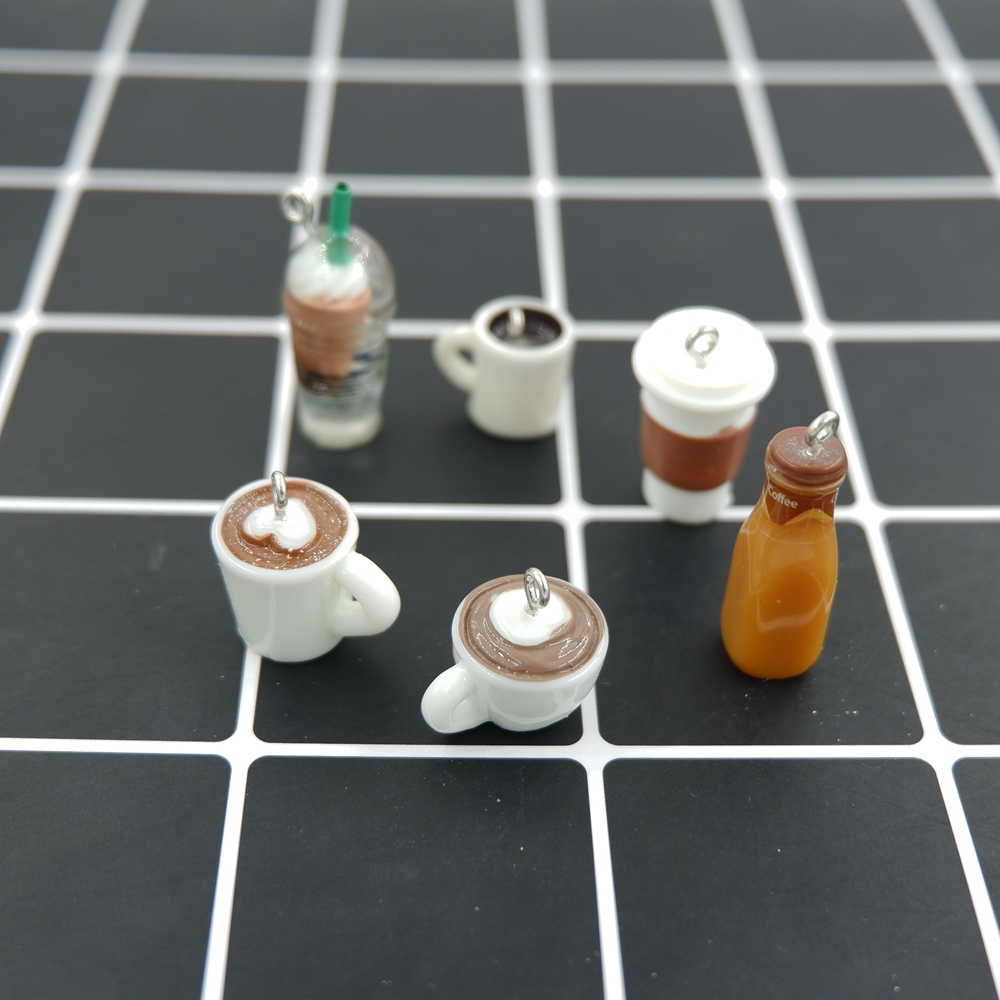 TJP Kawaii Coffee Charms Pendants for DIY decoration