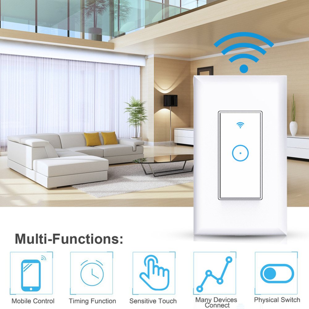 Image 2 - WIFI Wireless Remote Control Switch For AppUS Standard Plug Smart Home Wall Light Switch 1 Gang Work With Google Home-in Remote Controls from Consumer Electronics