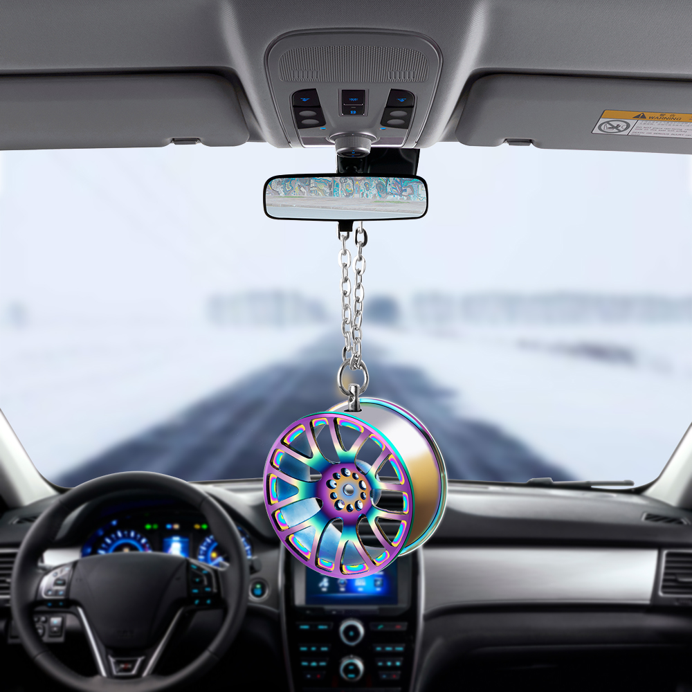 Car Pendant Ornaments Metal Wheel Hub Flywheel Hanging Hip-hop Auto Interior Rear View Mirror Decoration Dangle Trim Accessory(China)