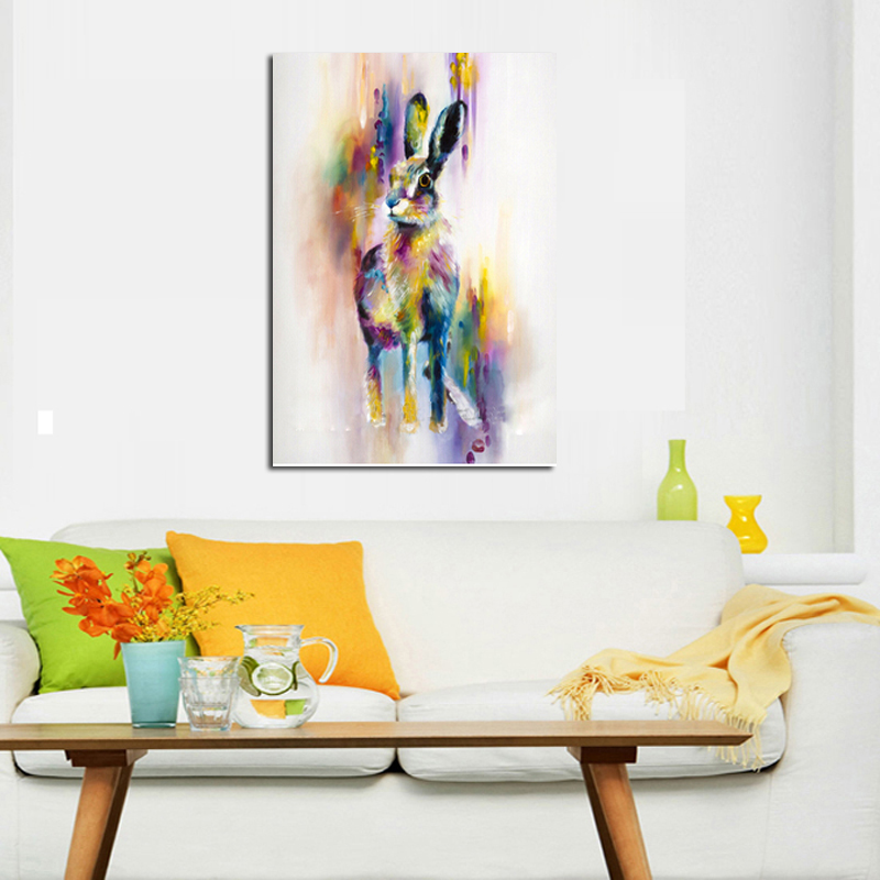 Handpainted Animal Wall Pictures Lovely Cute Rabbit Art Abstract Oil Painting
