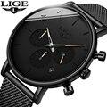 Мужские наручные часы LIGE  Роскошные водонепроницаемые кварцевые часы с хронографом  повседневные часы reloj hombre + Box  2019