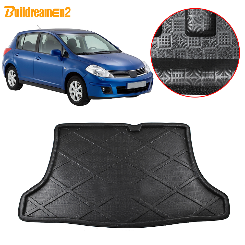 Buildreamen2 For Nissan Tiida Pulsar C13 Car Tail Trunk Mat Tray Boot Liner Floor Cargo Mud Pad Carpet 2014 2015 2016 2017 2018|  - title=