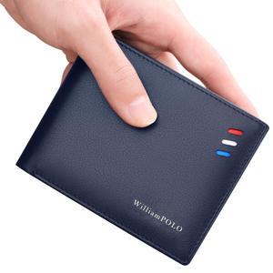 Image 4 - WilliamPOLO กระเป๋าสตางค์ผู้ชายสั้นสีแดง สีขาว แถบสีฟ้าช่องใส่การ์ด Ultrathin หนังแบบพกพากระเป๋าสตางค์ใหม่