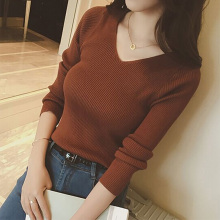 Autumn V Neck Sweater Knitted Fashion Womens Sweaters 2018 Winter Tops For Women Pullover Jumper Pull Femme Hiver Truien Dames