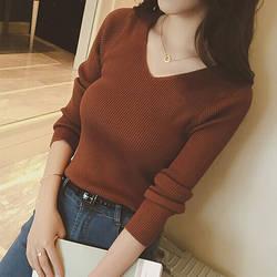 Осень V образным вырезом свитер вязаный модные женские туфли s свитеры для женщин 2018 зимние топы корректирующие для пуловер