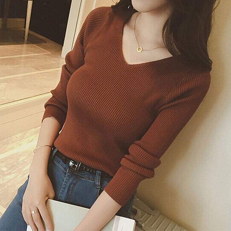 Otoño de cuello en V suéter de punto de moda de mujeres suéteres de invierno de 2018 Tops para mujeres Jersey Jumper tirar Femme Hiver Truien las mujeres