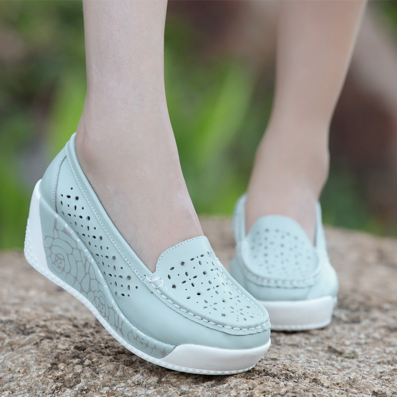 Women 39 s Summer Leather Casual Sandals Fashion Hollow Round Head Wedge Single Shoes Slip on Casual Garden Clogs Sandals Women in High Heels from Shoes