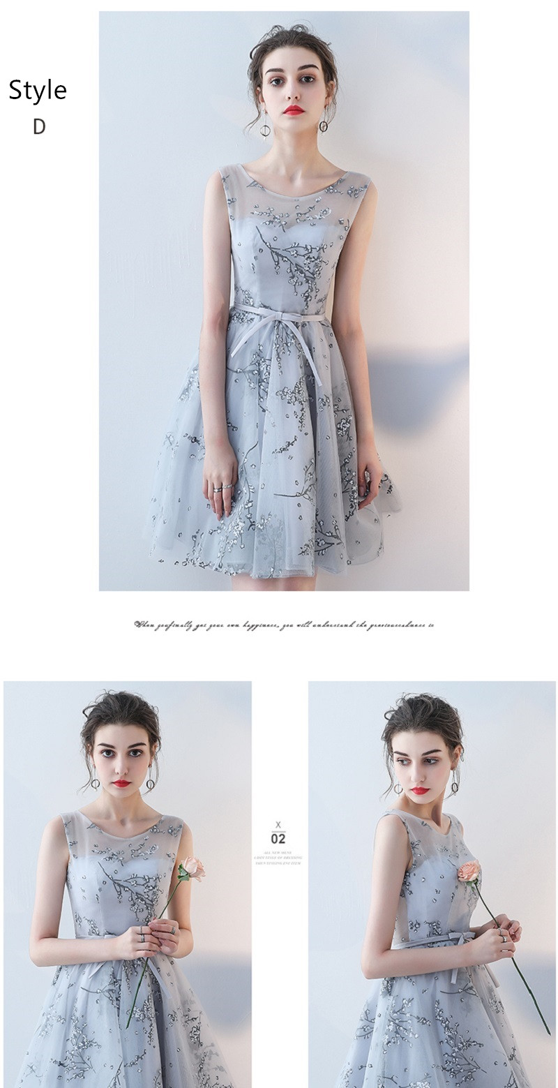 Flower Pattern Sashes Lace Knee Length Bridesmaid Dress 11