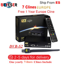 Freesat V8 Super DVB-S2 Satellite Receiver with 1 Year Europe Spain cline 7clines Full HD 1080P Portugal Germany Italy Polish TV