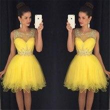 Bright Yellow short Prom Kleider 2016 Perlen Kristall Tulle Fashion Party Kleider Maß cocktailkleider