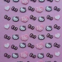 Продавец фабрики 25 компл./лот можно смешивать 3D рисунок «Hello Kitty» 25 конструкции исскуство ногати наклейки с персонажами из мультфильмов украшения XF311-XF334