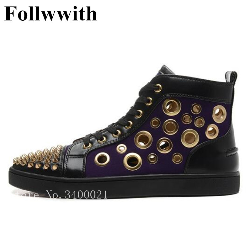 2018 Follwwith Luxury Brand High Top Superstar Cut-outs Trainers Sapatos Men Casual Shoes Lace Up Flats Gold Rivets Shoes Mens