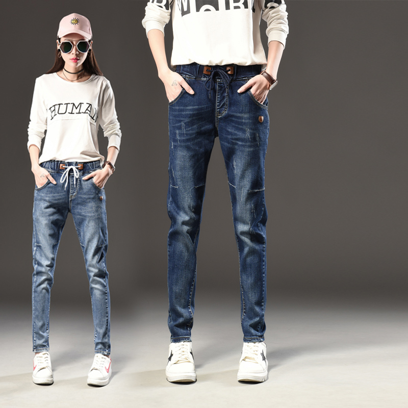 New All Match Women's Jeans Fashion Elastic Waist Woman Denim Pants Women Plus Large Size Trousers Free Shipping Cheap Wholesale