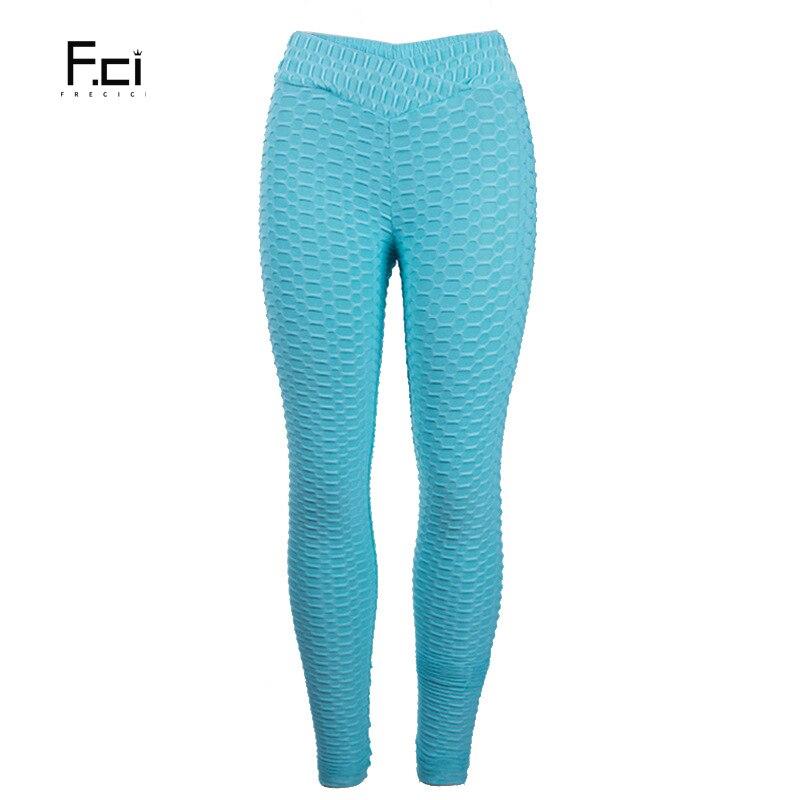 Textured Fitness Leggings: FRECICI Women Flaws Textured Leggings V Shape Waistband