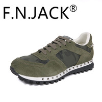 FNJACK Mens Trainer Garavani Current Camo Print Suede Sneaker Rockstuds Studded Logo Shoes