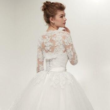 Fansmile Two Piece Long Sleeve Jacket Wedding Dresses 2019 Plus Size