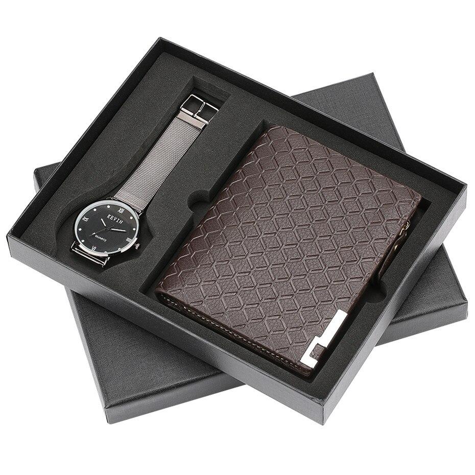 Montre à Quartz décontracté pour hommes montre-bracelet portefeuille ensemble cadeau pour petit ami bracelet en acier montres horloge Relogio Masculino