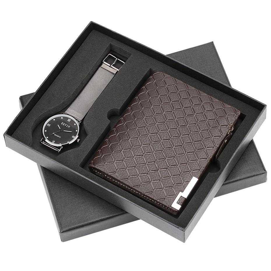 Simple Steel Iron Mesh Band Quartz Watch Men Sequin Wallet Clock Luxury reloj Coin Pocket Zip Gift Set Box for Men DAD Boyfriend