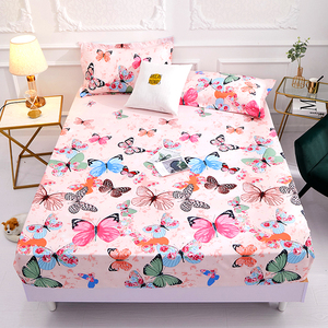 2020 New Product1pcs 100%Polyester Printed Fitted Sheet Mattress Cover Four Corners With Elastic Band Bed Sheet(no pillowcases)