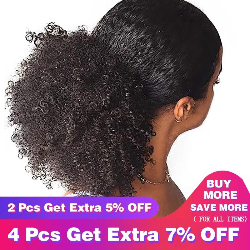 CARA 3B 3C Crépus Bouclés Clip En Queue de Cheval Extensions de Cheveux Humains Cheveux Brésiliens Produits Cordon Queue de Cheval Naturel Couleur Remy