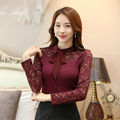 New Women Casual Basic Autumn Winter Lace Blouse blusas knitted Work Wear Top Shirt Elegant OL Full Sleeve Plus Size