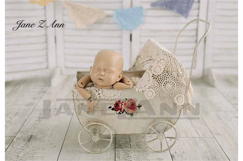Jane Z Ann Newborn Baby Photography Iron Strollers Props Baby Girl Boy Photo Shoot Cars bed