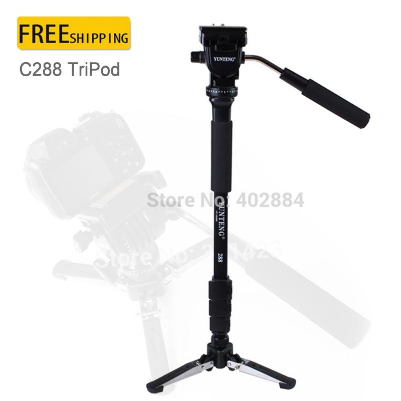 Yunteng C288 VCT-288 Pro Monopod for Canon Nikon Sony DSLR Camera+DV Unipod Mobile Phone Clip Holder+Fluid Pan Head Ball