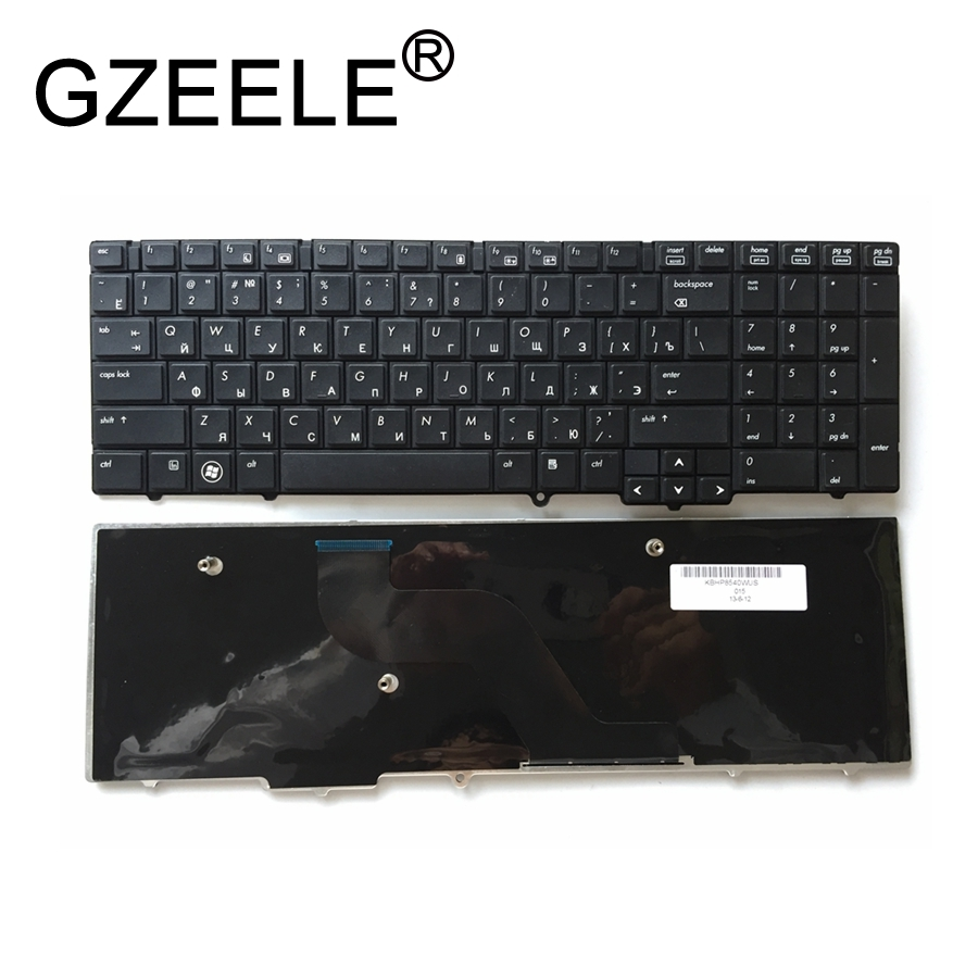 GZEELE Russian laptop <font><b>Keyboard</b></font> for <font><b>HP</b></font> EliteBook 8540 <font><b>8540P</b></font> 8540W Replace <font><b>keyboard</b></font> Black without pointing sticks RU High-quality image
