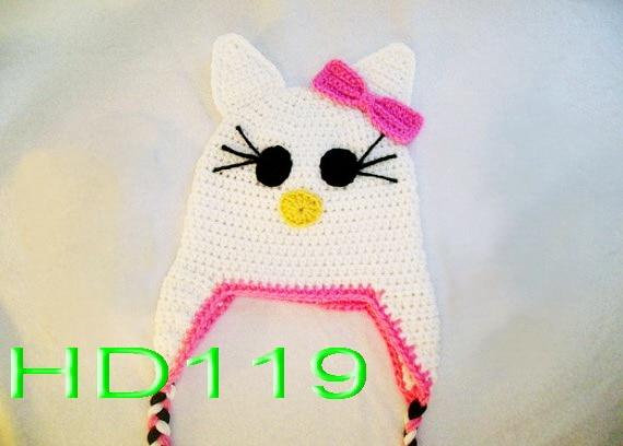 Free Shipping Lovely Crochet Baby Cat Hat Baby Cartoon Halloween