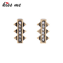 KISS ME 2 Pairs /Set Square Geometric Rhinestone Synthetic Stone Earrings for Women Alloy Vintage Stud Earrings Fashion Jewelry(China)