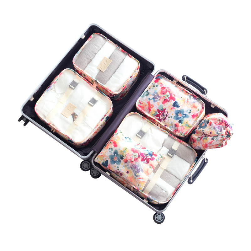 6Pcs/set Women Luggage Accessories Portable Packing Cube s Clothing Sorting Organizer Case Travel Supplies Products