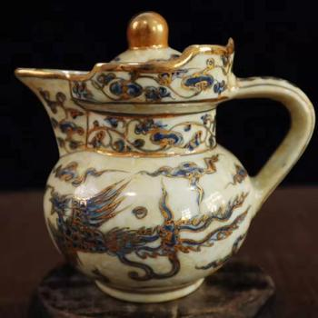 Exquisite Chinese Archaize Decorative Golden edge Double Phoenix Porcelain Teapot