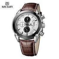 Fashion Leather Watchband Quartz Watch Men Megir Brand Waterproof Luxury Sport Mens Wrist Watches Army Style