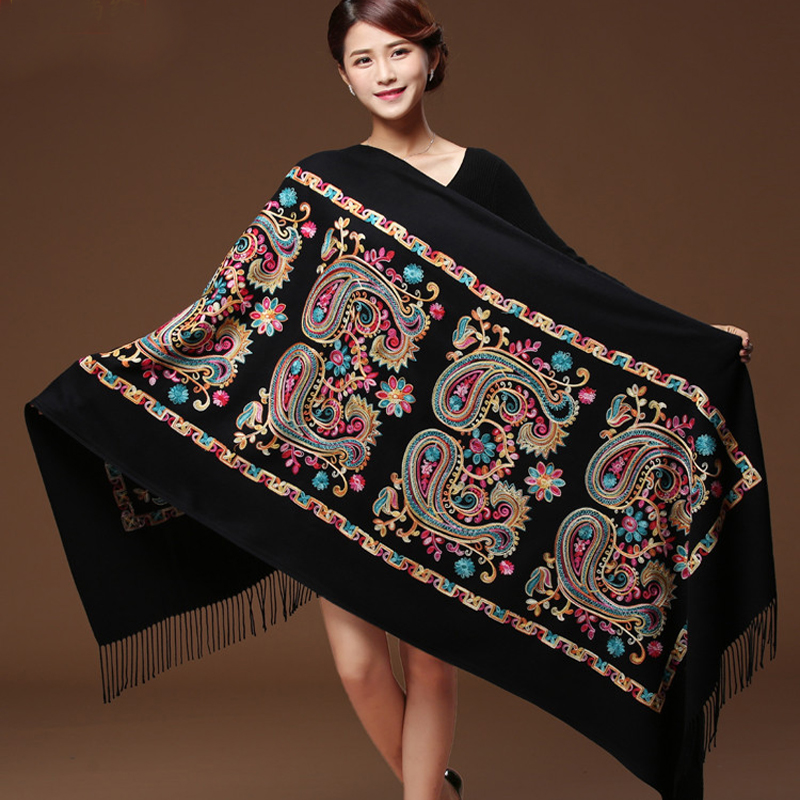 Women Black Embroider Flower Pashmina Cashmere Scarf Winter Warm Fine Tassels Scarf Oversize Shawl Fashion Shawl Scarves WS1217