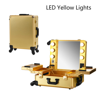 Aliexpress.com : Buy Golden LED Yellow Light Professional Aluminum Rolling  Cosmetic Case Makeup Lighting Studio Without Legs Portable Box 2016 New  From ...