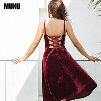 MUXU Fashion Sexy Women Black Velvet Dress Clothing Backless Vestido Clothes Women Vestido De Festa Suspender