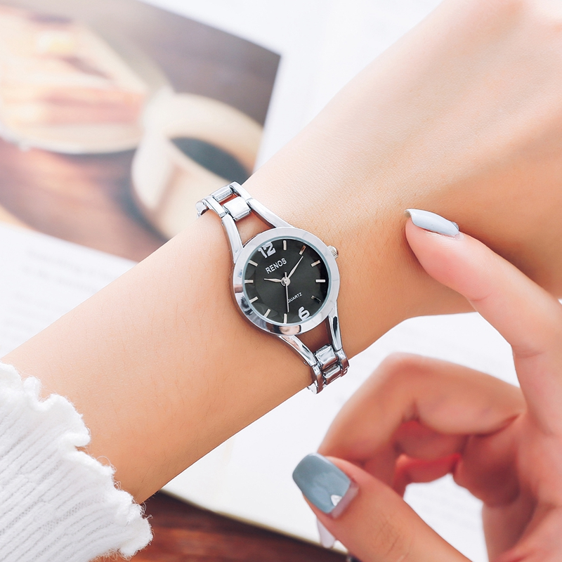RENOS Women Quartz Watch With Box Simple Black White Pink Alloy ...