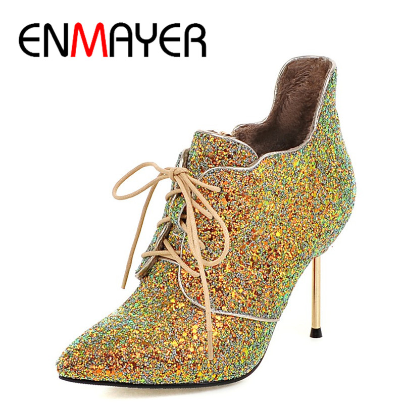 ENMAYER New High Heels Pointed Toe Lace-up Shoes Woman Golden Shoes Large Size 34-43 Ankle Boots for Women Winter Warm Boots