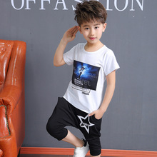 2017 New summer season kids's boy swimsuit informal kids's quick sleeves cotton T Shirt+shorts Youngsters Clothes Three four 5 6 7 eight 9 10Y