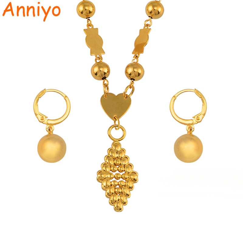 Anniyo Micronesia Jewelry sets Ball Beads Pendant Necklace Earrings Women Round Bead Chain Marshall Jewellery Gifts #143706 rhinestone bead pendant necklace and earrings