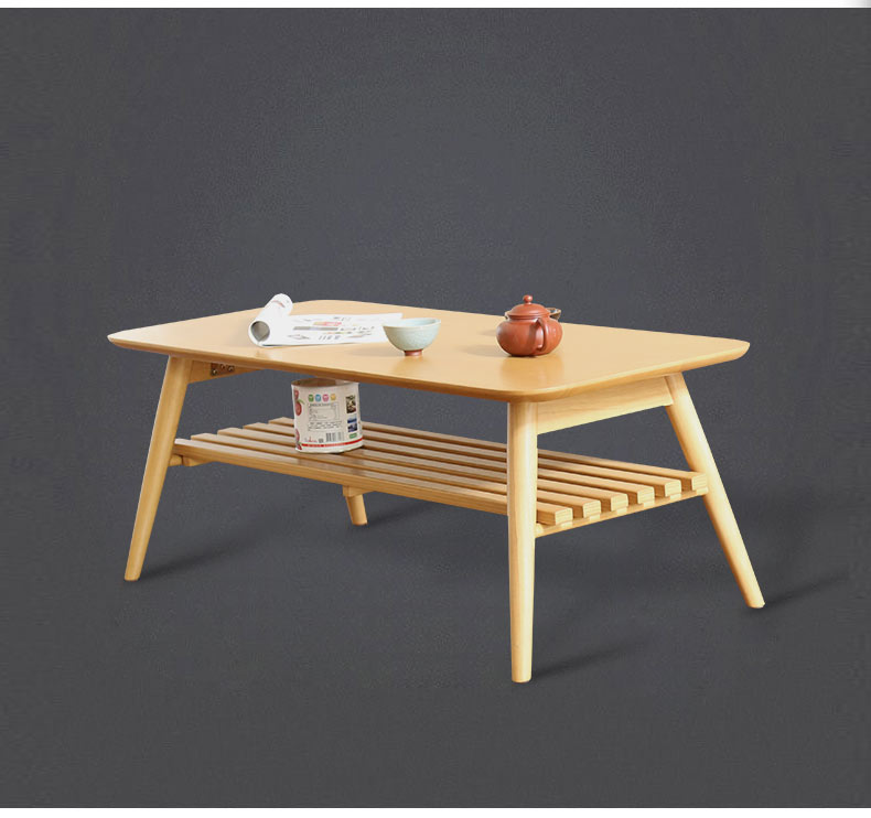 Modern Center Table Leg Foldable Walnut Natural Finish Living Room Furniture Rectangle Wooden Coffee